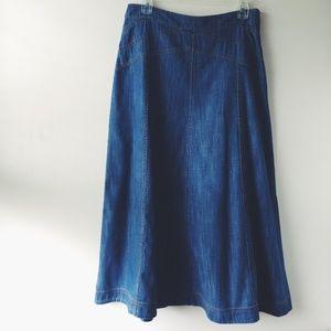 BODEN Modest Maxi Long Jean Denim Skirt 12R RARE